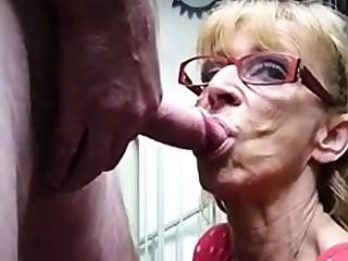 Very old hookup bungling granny gives blowjob