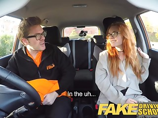 Fake Driving Crammer Creampie in nerdy ginger teen hairy muff