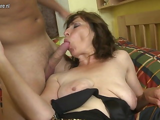 Hairy mom making out her son's lam out of here friend