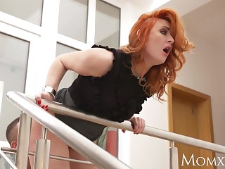 Jocular mater Teen stud fucks redhead MILF and cums on her facet