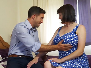 Mature busty unsophisticated mom fucks strong boy