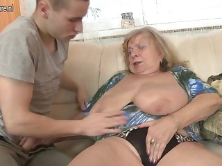 Old honcho grandma fucked by young boy