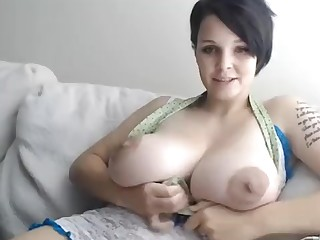 big breasts skinny white girl with huge juggs posing on webcam
