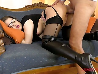 Sexy leggy babe in threatening stuff Angelina Brill wanna be poked doggy