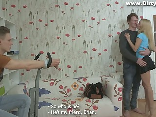 Russian girlfriend Marina ties up her boyfriend increased by makes him cuckold