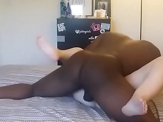 black dude destroys wet and shaved girl's cunt with his huge dick