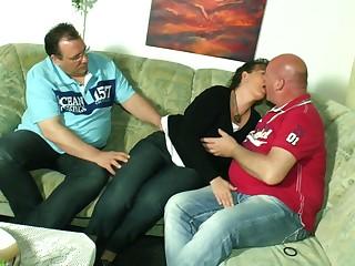 Matured couple invites perverted neighbor for dirty triumvirate intercourse
