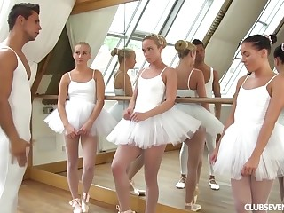 three youthfull lil' ballerinas share manmeat be useful to teacher after exercise