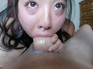 Creamy Semen wet blanket outside of her NOSE!
