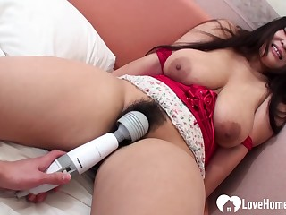 Slutty big-breasted Japanese girl suck chopper and riding