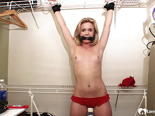 Tied-up and gagged pulchritude moans in pleasure