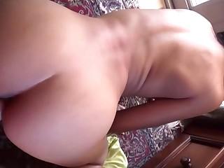 homemade POV porn with slutty brunette stepsister - cumshot