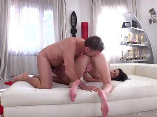 Butt fuck anal pleasures with burnish apply skinny comport oneself daughter