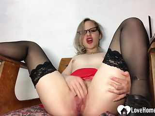 Amazing teacher in stockings pleasures will not hear of juicy vagina
