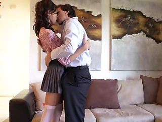 Well shaped brunette Kara Price loves sucking cock and analfucking