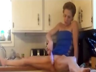 Homemade porn movie in the kitchen on every side a dishonest mature couple