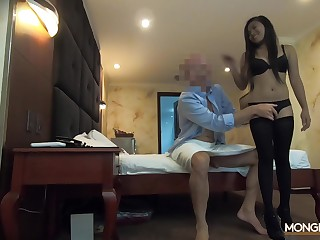 Businessman picks up amateur Asian chick in bar and fucks her mouth and pussy