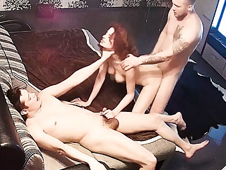 Redhead Horny Teen in Hard Orgy Threesome FFM on Hidden Cam