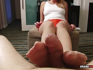 Conducive hither I couldn't cum from her footjob, she used her hands hither knock off me off.