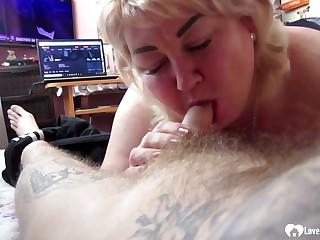 Blond Hair Daughter stepmom sucking on a hard penis