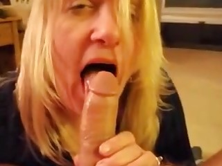 Blonde milf moaning while sucking dick and drink cum