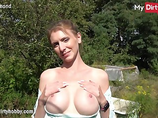 MyDirtyHobby - Busty tyro swallows a big cock outdoors